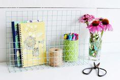 Organizador de escritorio hecho con malla de alambre - Guía de MANUALIDADES