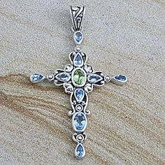 Sterling Silver Blue Topaz and Peridot Cross Pendant (Indonesia) | Overstock.com Shopping - Big Discounts on Pendants