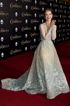 Lily James in an Elie Saab Cinderella-inspired dress.