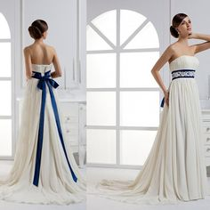 Royal Blue and Ivory Wedding Dresses from Eiffelbride with Beautiful Lace Applique Bow Sash Waist and Elegant A-line Chiffon Bridal Gowns