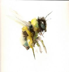 Honey Bee Original watercolor painting 12 X 12 in by ORIGINALONLY