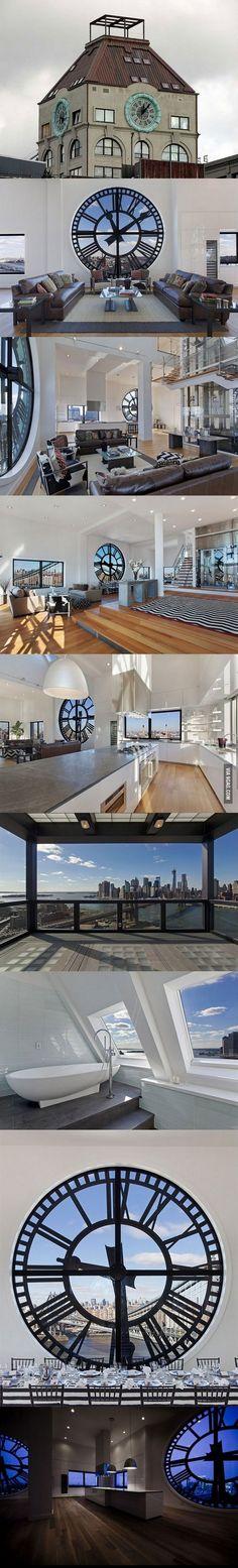 AMAZEBALLS-ly gorgeous. Holy apartment!! Clock Tower transformed into $18M Brooklyn penthouse