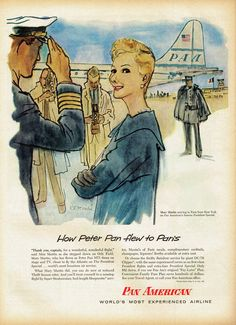 Mary Martin for Pan American Airlines, 1956, illustration by René Bouché