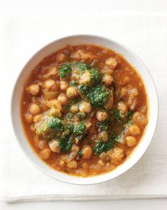 Hearty Chickpea Stew With Pesto With Olive Oil, Sweet Onion, Celery, Pepper, Salt, Oregano, Tomato Paste, Vegetable Broth, Chickpeas, Bread, Basil Pesto
