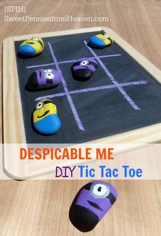 Despicable Me DIY Tic Tac Toe | 25+ minion party ideas