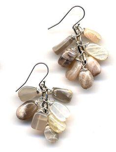 Grape Earrings in Peach Moonstone and Sterling. by Annaart72, $32.00