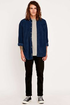 Urban Renewal Vintage Customised Navy Corduroy Shirt