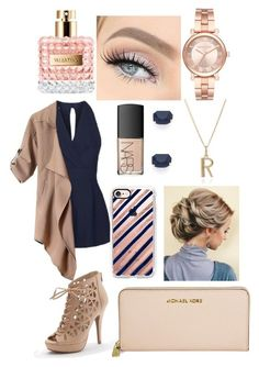 """Rose gold navy blue"" by c-xo-is-bae ❤️ liked on Polyvore featuring Topshop, Valentino, Apt. 9, Michael Kors, Casetify, NARS Cosmetics, Rachel Jackson and Kate Spade"