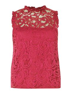 Womens Pink High Neck Lace Top- Pink