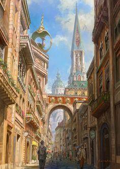 Street by Kou Takano : ImaginaryCityscapes Fantasy City, Fantasy Castle, Fantasy Places, High Fantasy, Fantasy World, Fantasy Art Landscapes, Fantasy Landscape, Landscape Art, Steampunk City