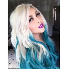 Blonde teal blue ombre dyed hair