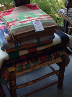 Camp blanket display Christbys Antique show booth