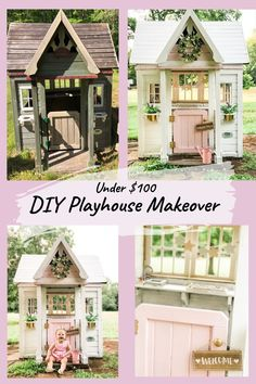 How we turned this Backyard Discovery playhouse into a little girls dream playhouse for under $100. And all DIY! #playhouse #backyard #backyardgoals #playhousemakeover #diy #outdoor #outdoorplayhouse