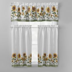 Add a floral burst to your decor with our lovely curtain set. A pretty sunflower design brings your windows to life.