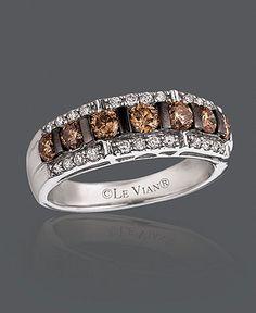 Le Vian Diamond Ring, 14k White Gold Chocolate Diamond and White Diamond Band (1-1/6 ct. t.w.)