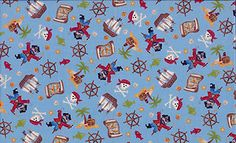 Pirates Treasure Hunting Scatter Fabric by Makower 100% Cotton FQ | eBay