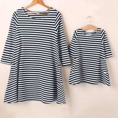 * Note: Include 1 dress only, if you want a matching set, please choose a kid and a mom size<br /> * Black stripe<br /> * Material: 90%Cotton, 10%Polyester<br /> * Machine wash, tumble dry<br /> * Include: 1 dress<br /> * Imported