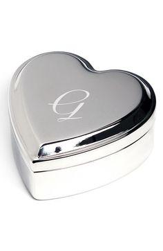 Cathy's Concepts Monogrammed Heart Keepsake Box - Metallic