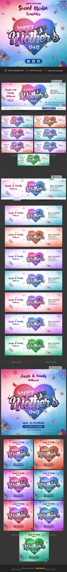 """Buy Mother's Day Social Media Pack - 7 Color Variations - Images Included by Hyov on GraphicRiver. Make a statement with this Social Media pack that puts you in the spotlight. Increase your number of """"Likes"""" and buil. Social Media Detox, Social Media Content, Social Media Graphics, Social Media Tips, Social Media Calendar, Social Media Branding, Website Template, New Friends, Cover Design"""