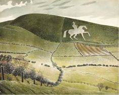 Ravilious painted this horse on a whistle-stop tour of chalk figures in December 1939 prior to his appointment as an official war artist. It is one of many chalk figures painted by Ravilious over the years. This particular chalk horse was carved int Landscape Art, Landscape Paintings, Landscapes, Landscape Illustration, Chalk Hill, White Horses, British Isles, Fine Art, Prints