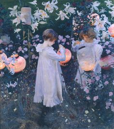 Carnation, Lily, Lily, Rose by John Singer Sargent. I love John Singer Sargent. Such amazing glows of light in his paintings. Google Art Project, Renoir, Carnation Lily Lily Rose, Beaux Arts Paris, Tate Britain, Chinese Lanterns, Great Paintings, Popular Paintings, Art History