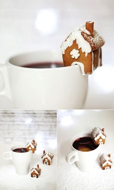 Mini gingerbread house for your mulled wine. Sweet!