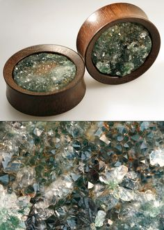 onetribeorganics:  These are custom 40mm Katalox plugs into which we have inlaid carved ocean jasper druzy cabochons with a hidden hardware setting (no glue).