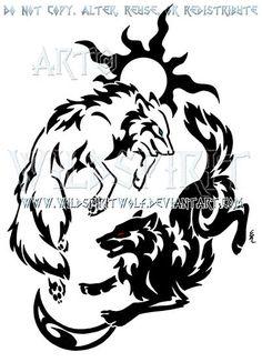 Tribal Hati + Skoll Yin Yang Design by WildSpiritWolf on DeviantArt Tribal Animal Tattoos, Tribal Wolf Tattoo, Tribal Animals, Wolf Tattoo Design, Tattoo Designs, Lobo Tribal, Rabe Tattoo, Yin Yang Designs, Tribal Heart