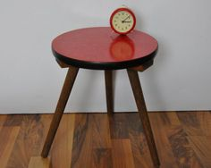 Vintage red laminate table from Berliner Strasse on Etsy