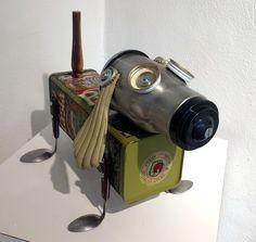 Pasta Pup found object, recycled junk art, robot sculpture by Don Jones of Jones Robo-Works.
