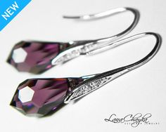 Wedding Bridesmaids Gift Earrings Swarovski Amethyst Purple Drop Crystal Rhodium Sterling Silver Cubic Zirconia FREE US Shippi9ng