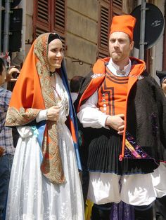 Traditional folk costume of Cagliari during the Feast of St. Ephysius