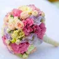 Burst of Spring Bridal Bouquet; Peach and White Spray Roses, combined with Pink, Yellow and Lavender Lisianthus; $59.99