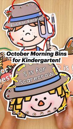 Kindergarten Morning Work, Homeschool Kindergarten, Kindergarten Classroom, Classroom Activities, Preschool, Homeschooling, Classroom Ideas, Core Learning, October Crafts