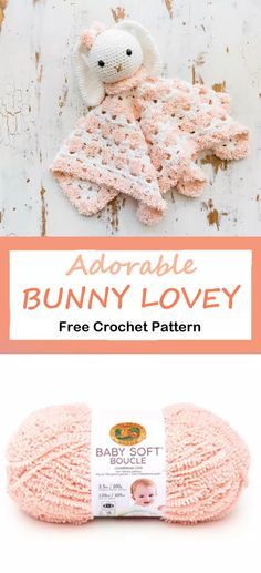 Looking for a cute baby lovey pattern? This free Bunny Lovey Crochet Pattern would make a cute gift and would be perfect for a boy or girl. Crochet Lovey, Crochet Bunny Pattern, Crochet Patterns Amigurumi, Lovey Blanket, Baby Lovey, Bunny Crafts, Baby Rattle, Cute Toys, Cute Bunny