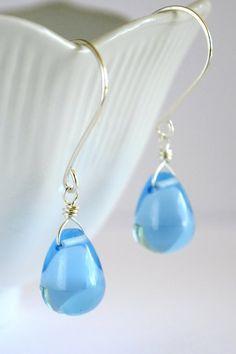 Sky blue glass earrings blue drop
