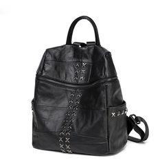 Beau sac à dos voyage avec rivets en ligne original sacs à dos noir de discount pour femmes [VL10504] - €65.39 : Towido.com, sac en cuir pas cher