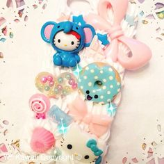 Kawaii Animal Kitty Decoden Sweets Phone case for Iphone 4/4s, Iphone 5, Samsung Galaxy S2 S3 S4, HTC One X