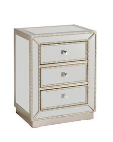 Picture of 3-Drawer Mirror Cabinet with Pearl Trim- 20x26-in