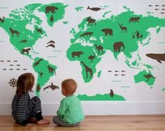 Wat een prachtige wereld kaart Decal Kids wereld door Chromantics