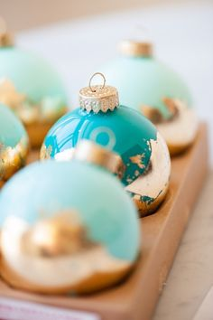 DIY Painted Gold Leaf Ornaments by @cydconverse