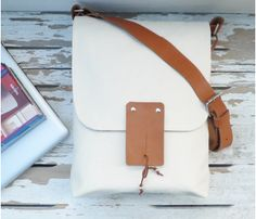 White Canvas Messenger by Ottobags >> Lovely!
