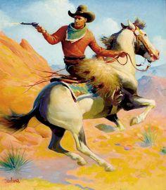 Gerard C. Delano, Western Story Magazine cover #cowboy #art
