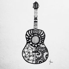 Guitar Zentangle Drawing
