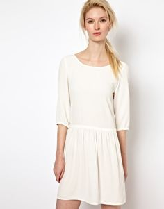 BA Low Back Dress with Frill Skirt in Crepe