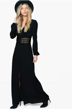 198752ba848b Click here to find out about the Lace Waist Button Maxi Dress from Boohoo