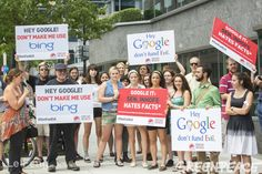 """Protest outside of Google fundraiser for the American senator and 'climate liar' Inhofe. Over 40,000 people signed a """"Don't Fund Evil"""" petition telling Google to stop supporting climate change denial."""