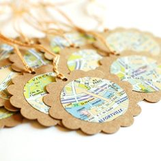 map gift tags for favors to a travel themed party?