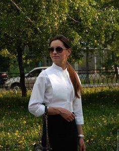 Купить Белая рубашка с портупеей - белый, рубашка из хлопка, рубашка женская, рубашка на заказ