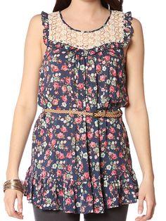 Papaya Clothing Online :: PATCHED FLORAL DRESS W/ BELT US$20.99